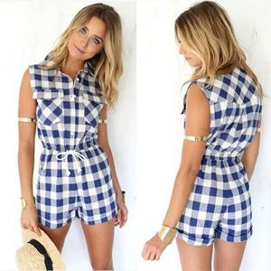 Blue and white plaid checkered romper!